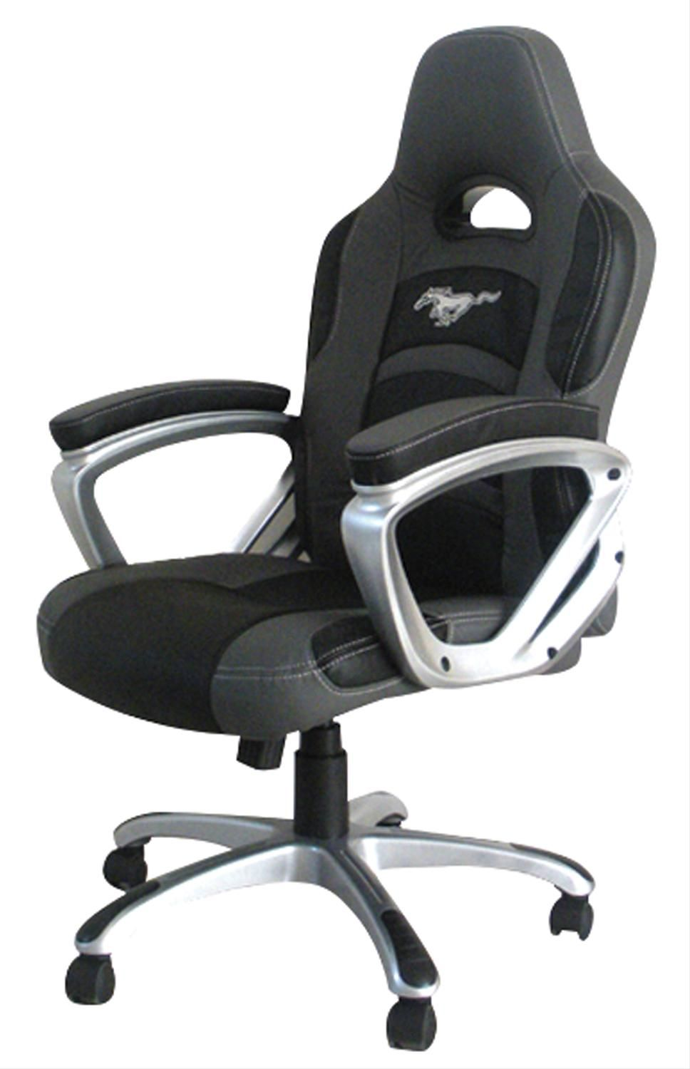Racing Desk Chair White Accent With Ottoman Gray Black Office Ford Mustang Emblem Free Shipping On Orders Over 99 At Genuine Hotrod Hardware