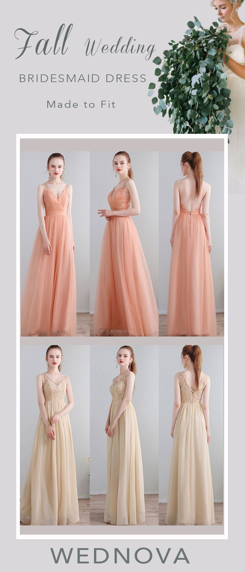 lace straps bridesmaid dresses orange with open back v neck