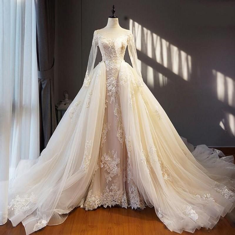 Discount Charming Beige Wedding Dresses Lace Appliques Sheer Neck Long Sleeves Bridal Gowns Tulle Overskirts Corset Back Sweep Train Wedding Dress Wedding Dress Detachable Train Wedding Dress Beige Wedding Dress Wedding