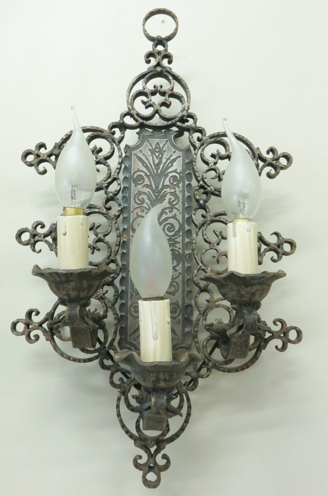 Stunning 1930 French Wrought Iron Wall Light Sconce Lamp Gothic