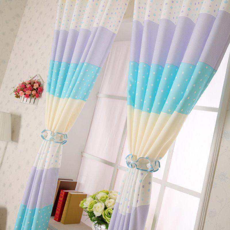 Delightful Cheap Blue/Purple Polka Dot Curtains For Kids Room