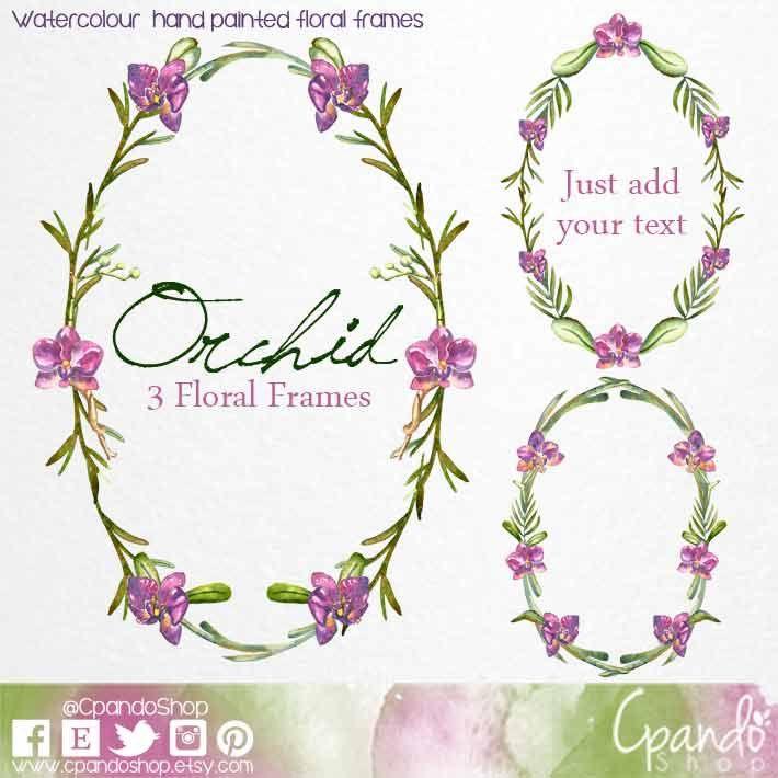 Floral frame clip art. Orchid frame, wedding clip art, wedding ...