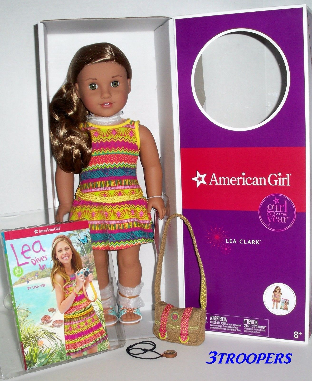 American Girl Doll Lea Clark Girl of the Year 2016 Compass Meet Necklace ONLY