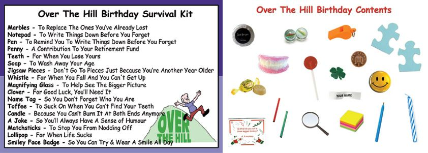 Humorous Birthday Survival Kit In A Can  Novelty Getting Old