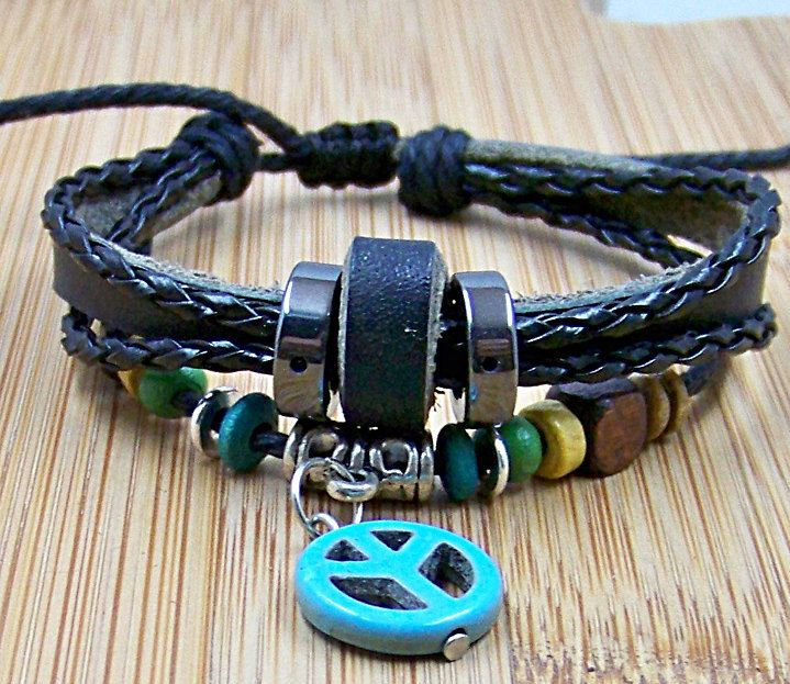 Black Leather cuff wristband for men women Cuff Leather  bracelet with blue pendant and wooden Bead adjustable length for gift. $6.99, via Etsy.
