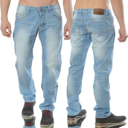 Pantalones Vaqueros Hombre Delgado Ajustado Azul Diseno Clubwear Azul Claro  Azul