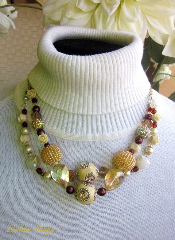 Madame Caramel Statement Necklace, ivory, champagne, cream, carmel, buttercream, yellow, limon large beaded dual strand necklace on Etsy, $36.00
