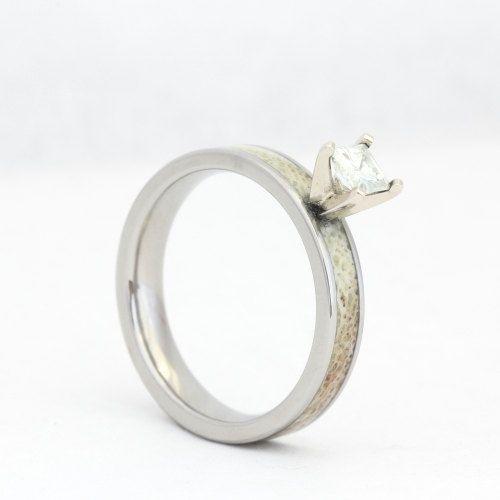 Custom Deer Antler Engagement Ring Unique Deer Antler