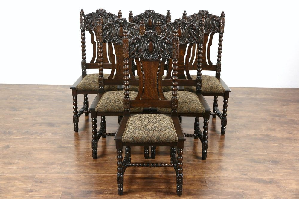 Set Of 6 Oak Carved 1900 Antique Scandinavian Dining Chairs New Upholstery