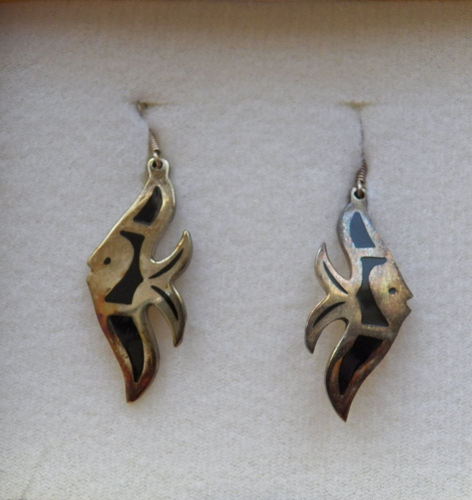 $12.00 Silver & Black Fish Earrings (91815-1511MS) jewelry, fashion, silver #Unbranded #DropDangle