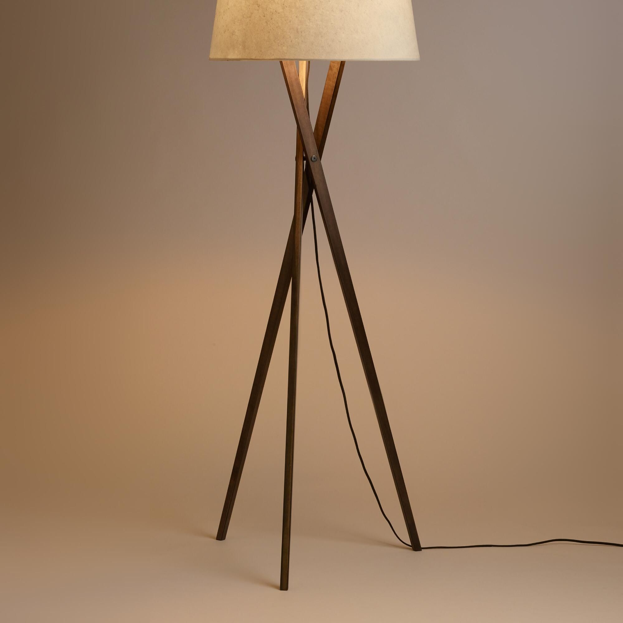 Walnut Wood Tripod Austin Floor Lamp Base By World Market Floor