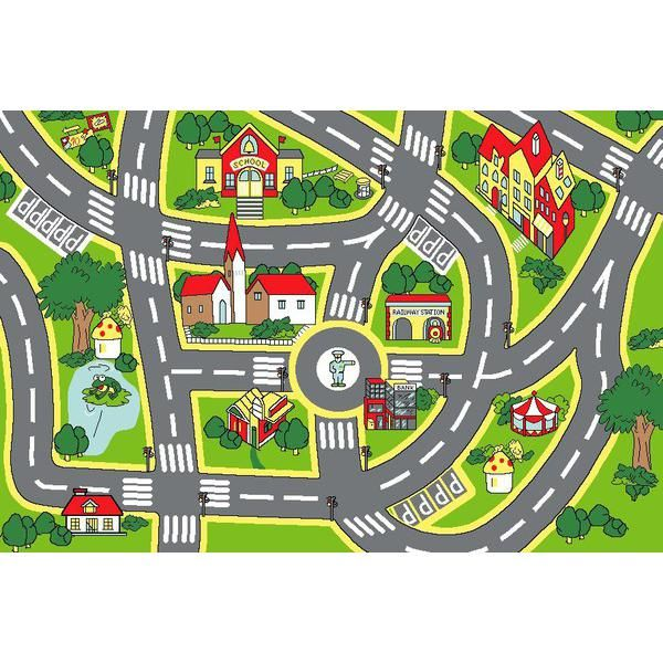 Main Product Photo Of Kids Non Slip Road Map City Rug