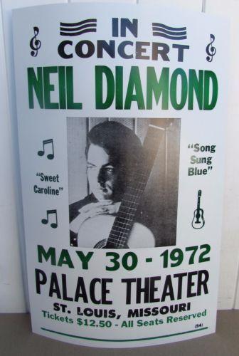 Vintage Neil Diamond Concert Poster 1972 St Louis Paramount Sweet Caroline Neil Diamond Concert Neil Diamond Concert Posters