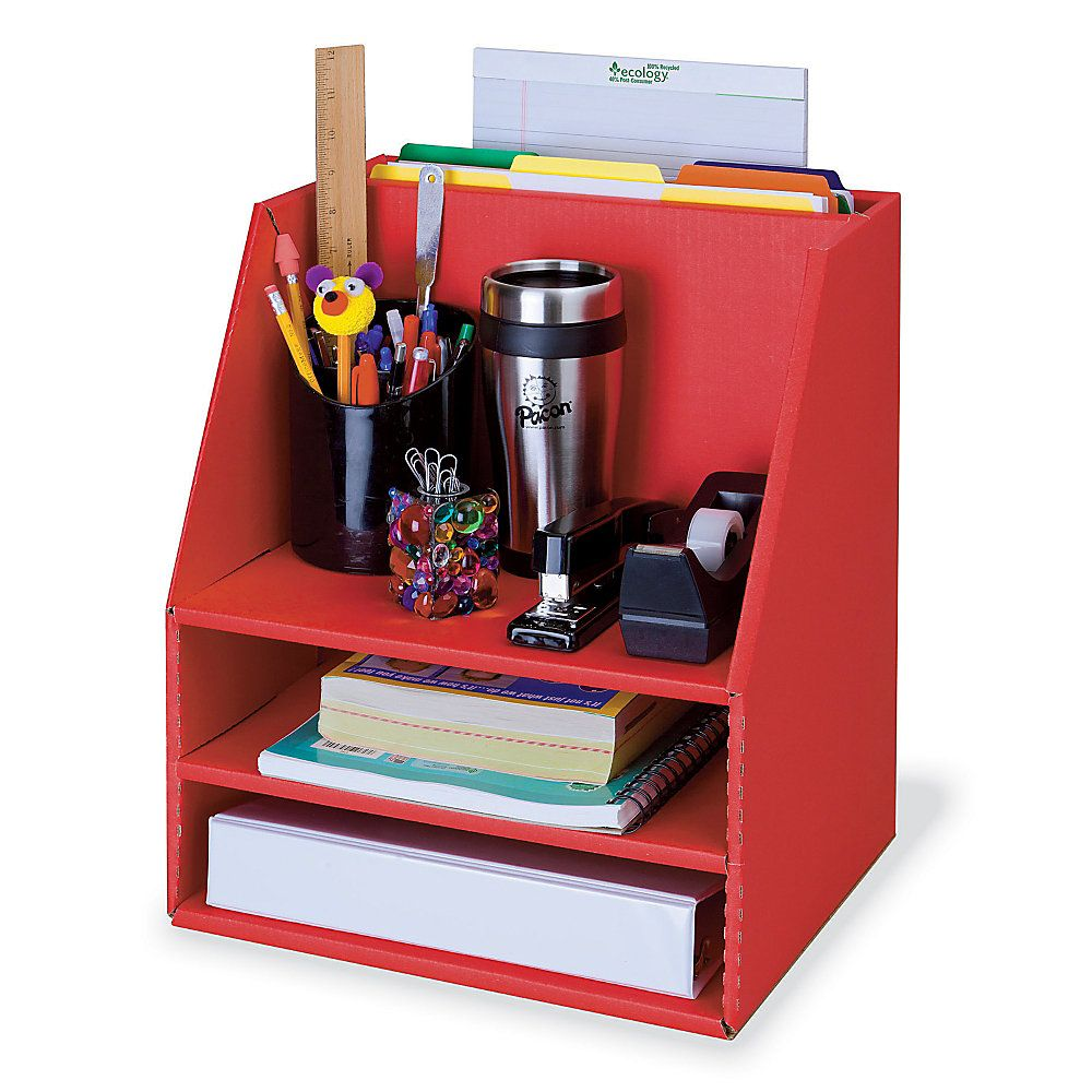 Pacon 70percent recycled corrugated desk organizer red by for Oficina depot