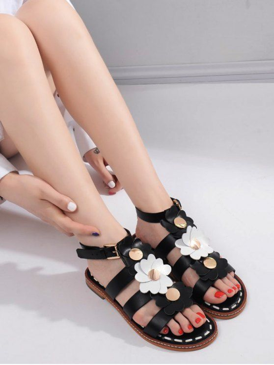 3eadb350a AD : Flowers T Bar Flat Heel Sandals - BLACK Gender: For Women Sandals Style