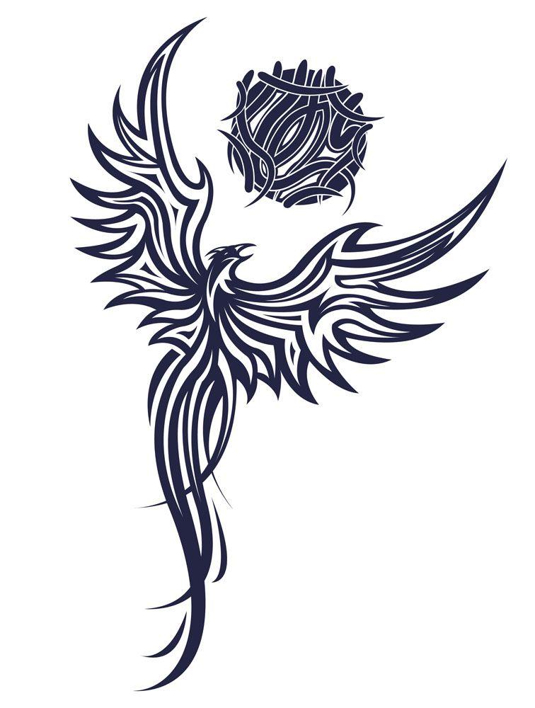 03fe3144a Impressive Black Tribal Flying Phoenix Tattoo Stencil | Tattoo Ideas ...