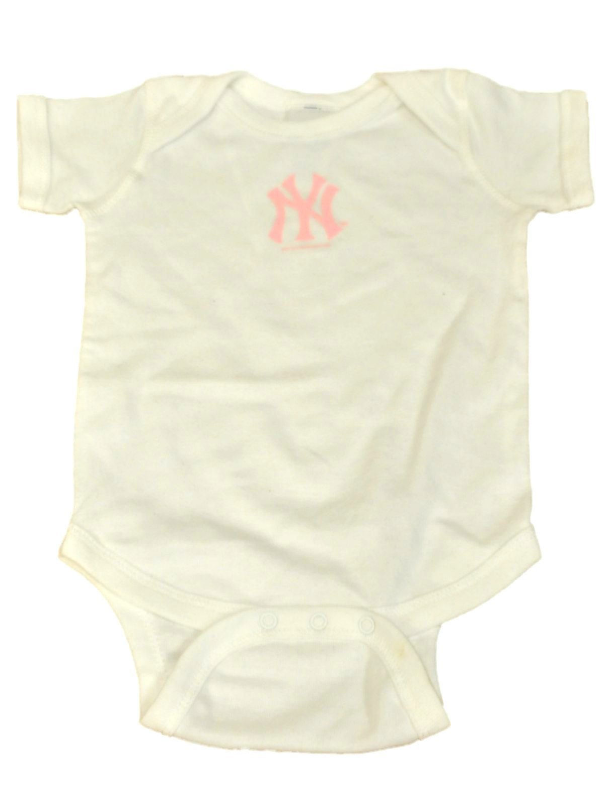 New York Yankees SAAG Infant Girls White Pink Logo e Piece Outfit