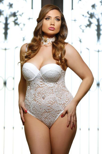 781301131 Elegant Plus Size Curvy Bridal Push Up Cup Lace Teddy Lingerie 1x 2x 3x   teddy  bridal