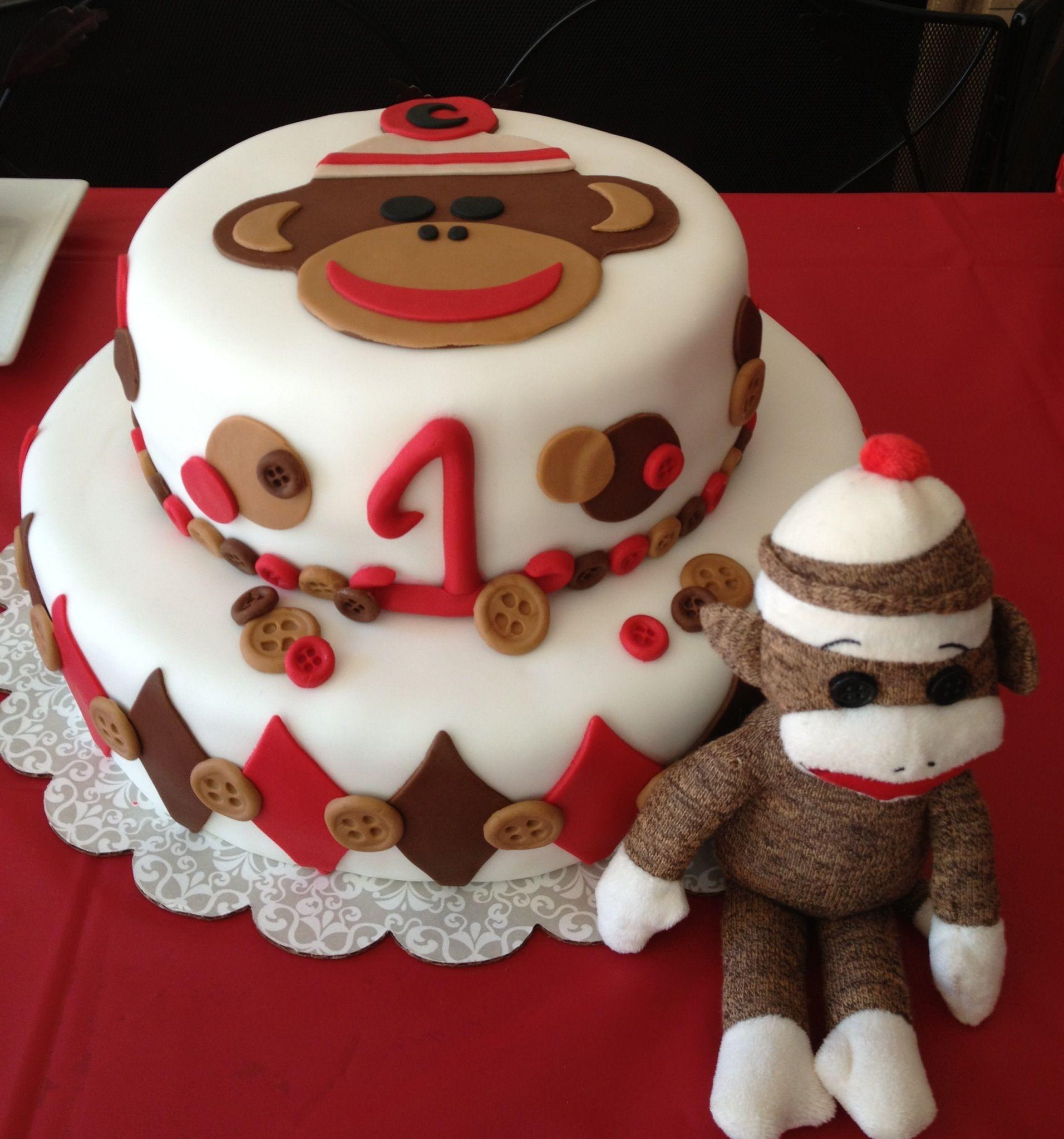 Sock Monkey Birthday Cake kids partys Pinterest Monkey