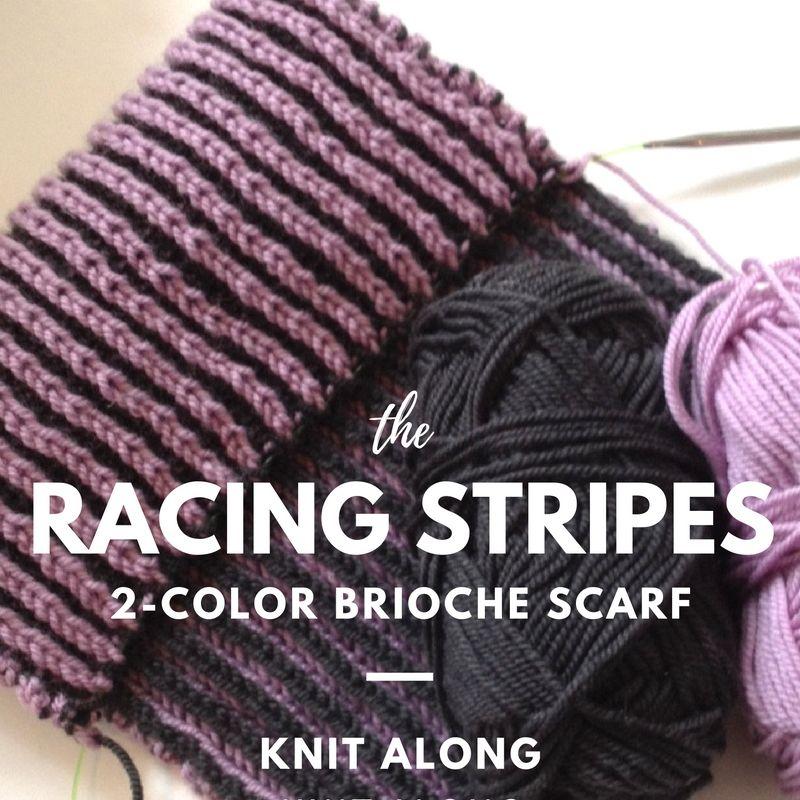 Racing Stripes 2-Color Brioche Scarf Knit Along