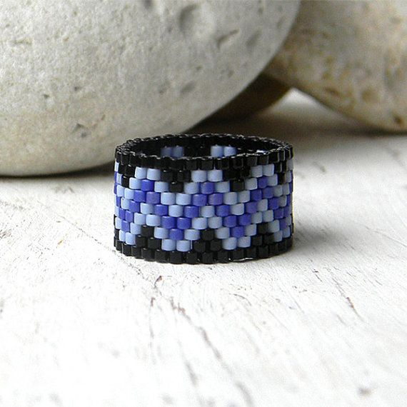 Wide beaded ring wide band ring peyote ring women by Anabel27shop