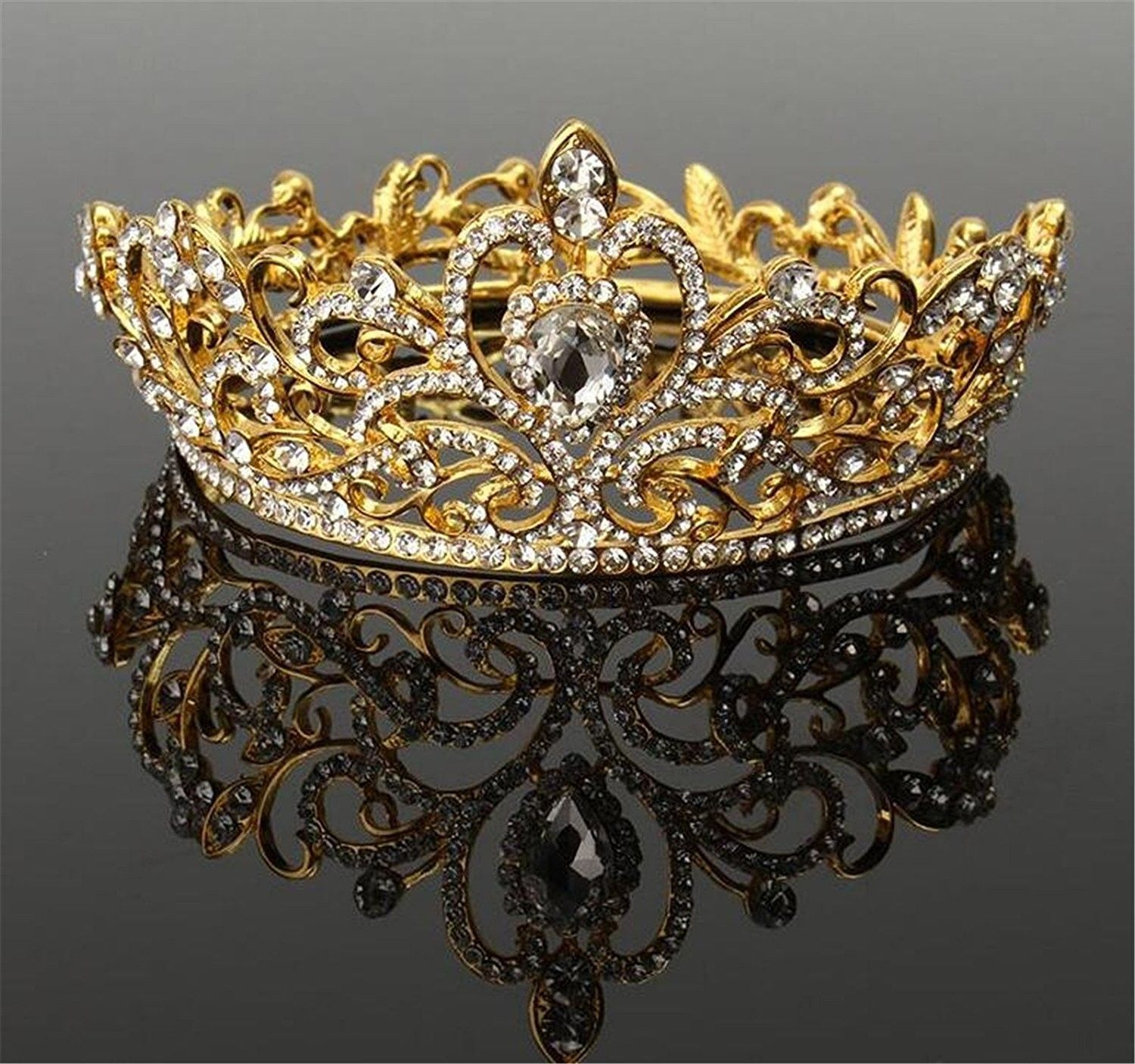 Wiipu Luxury Gold Tone Drop Queen Pageant Prom Crystal Wedding Bridal Tiara Crown A1072 Gold C6185l5qqkd Crystal Wedding Wedding Bridal Tiaras Bridal Tiara