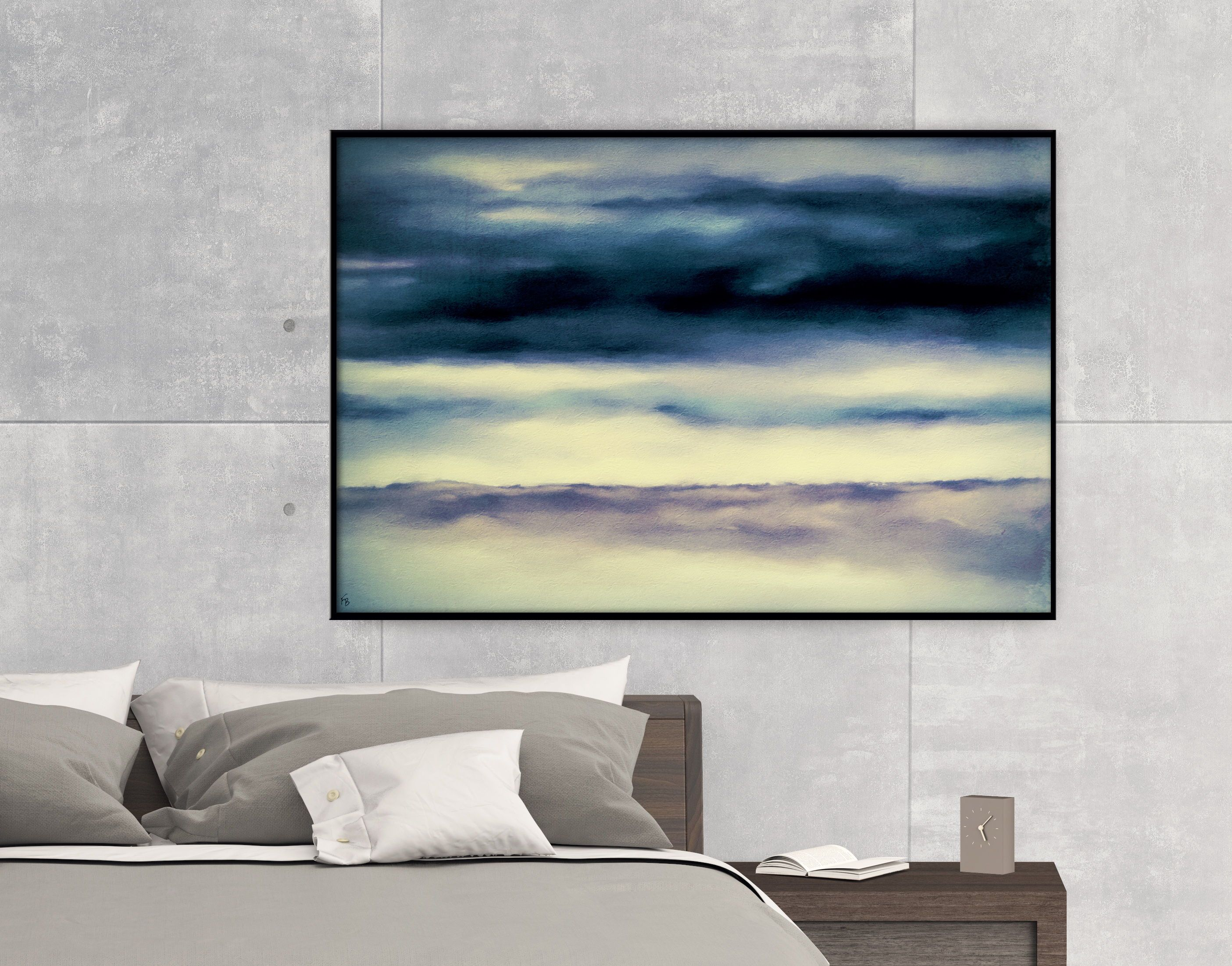Blue large poster digital print abstract painting home decor
