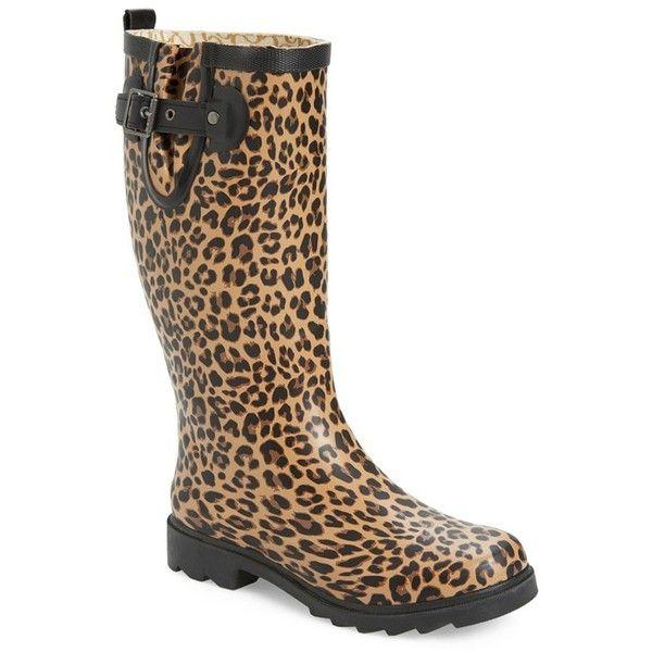 Chooka Lavish Leopard Rain Boot Tan Women