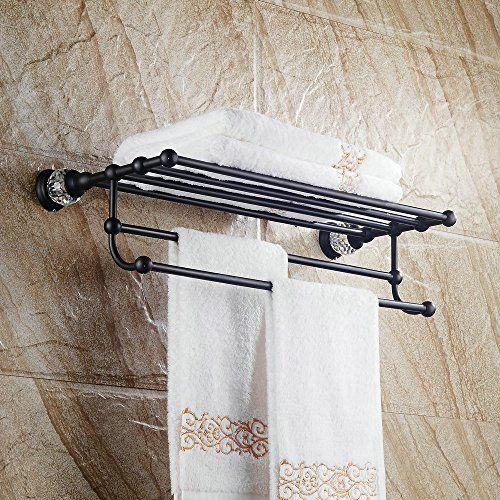 Hiendure Contemporary Wall Mount Brass Bath Towel Rack Hotel