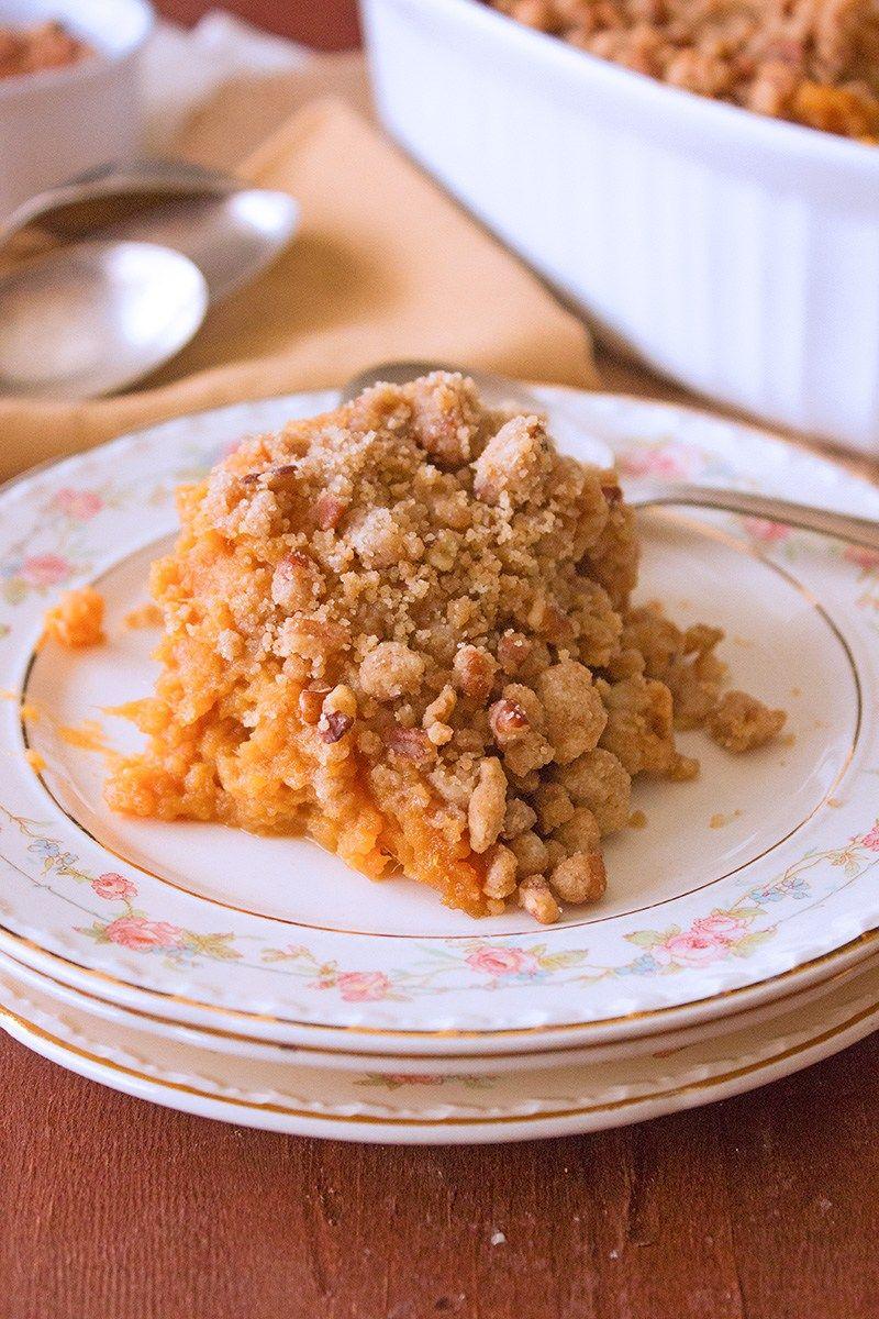 Easy Sweet Potato Casserole   Brown Sugar Food Blog #sweetpotatocasserole