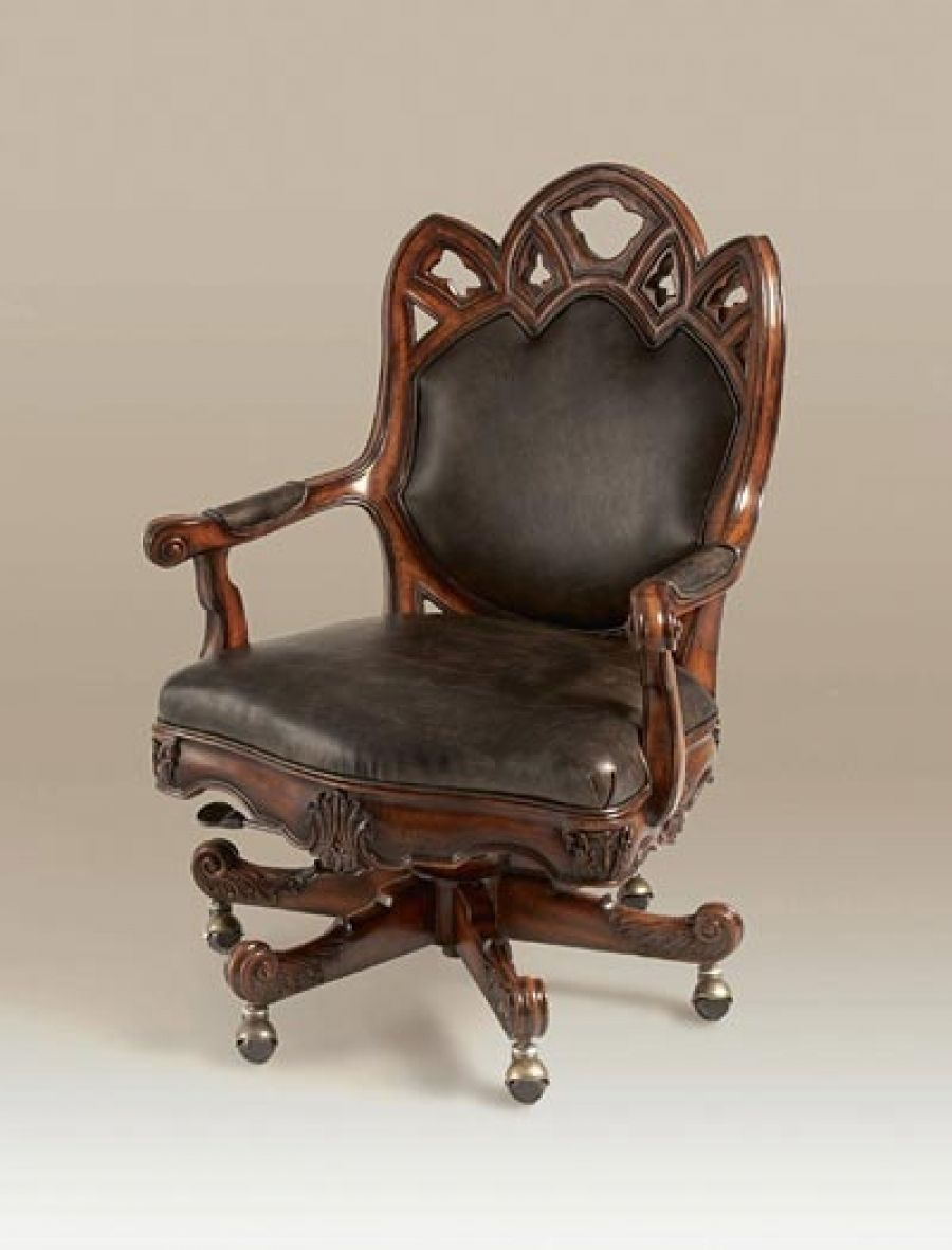 Goth Office Chair Hand Carved Umber Finished Mahogany Gothic Revival Desk Black Leather