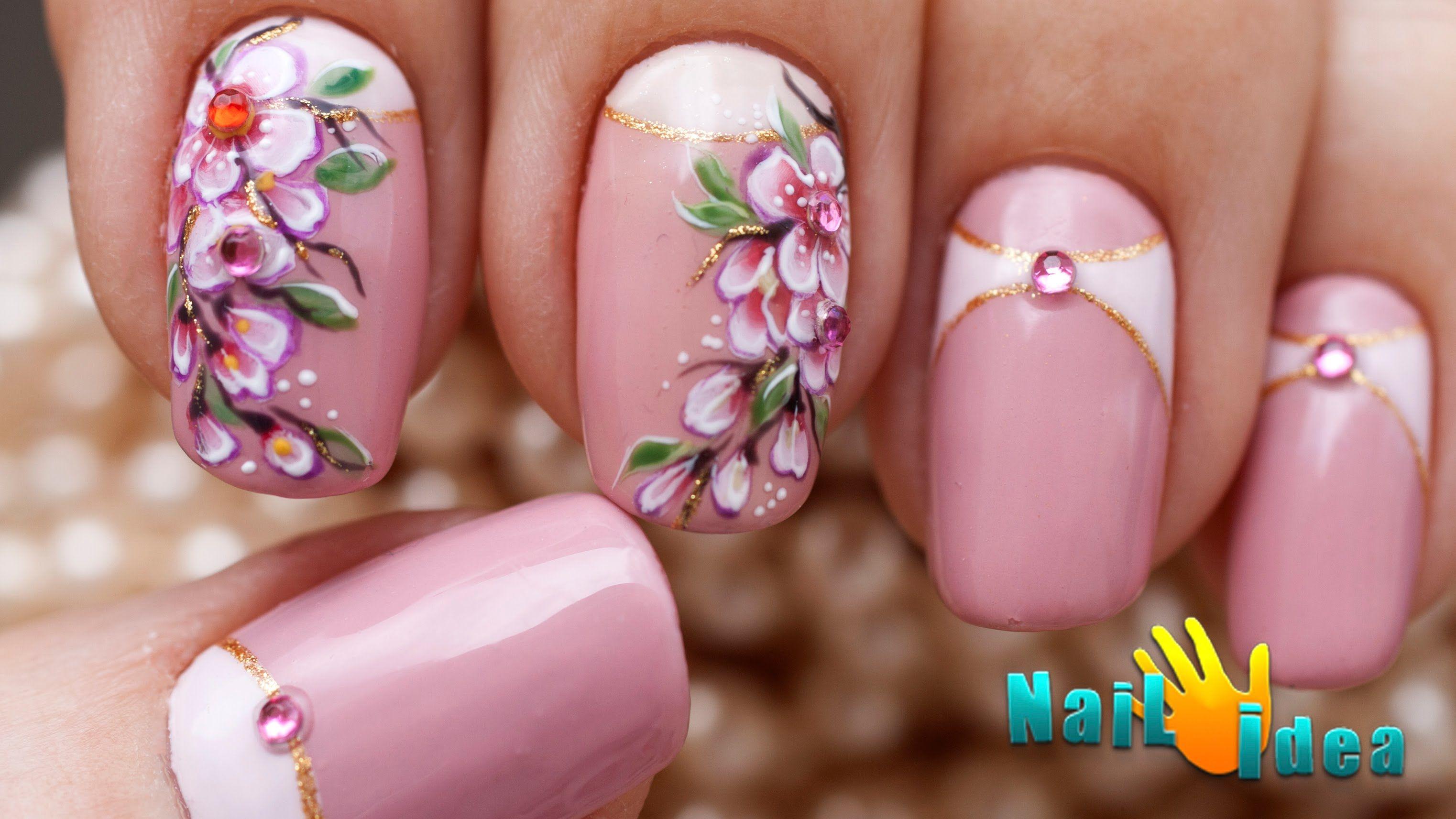 рисунок цветы фото на ногтях