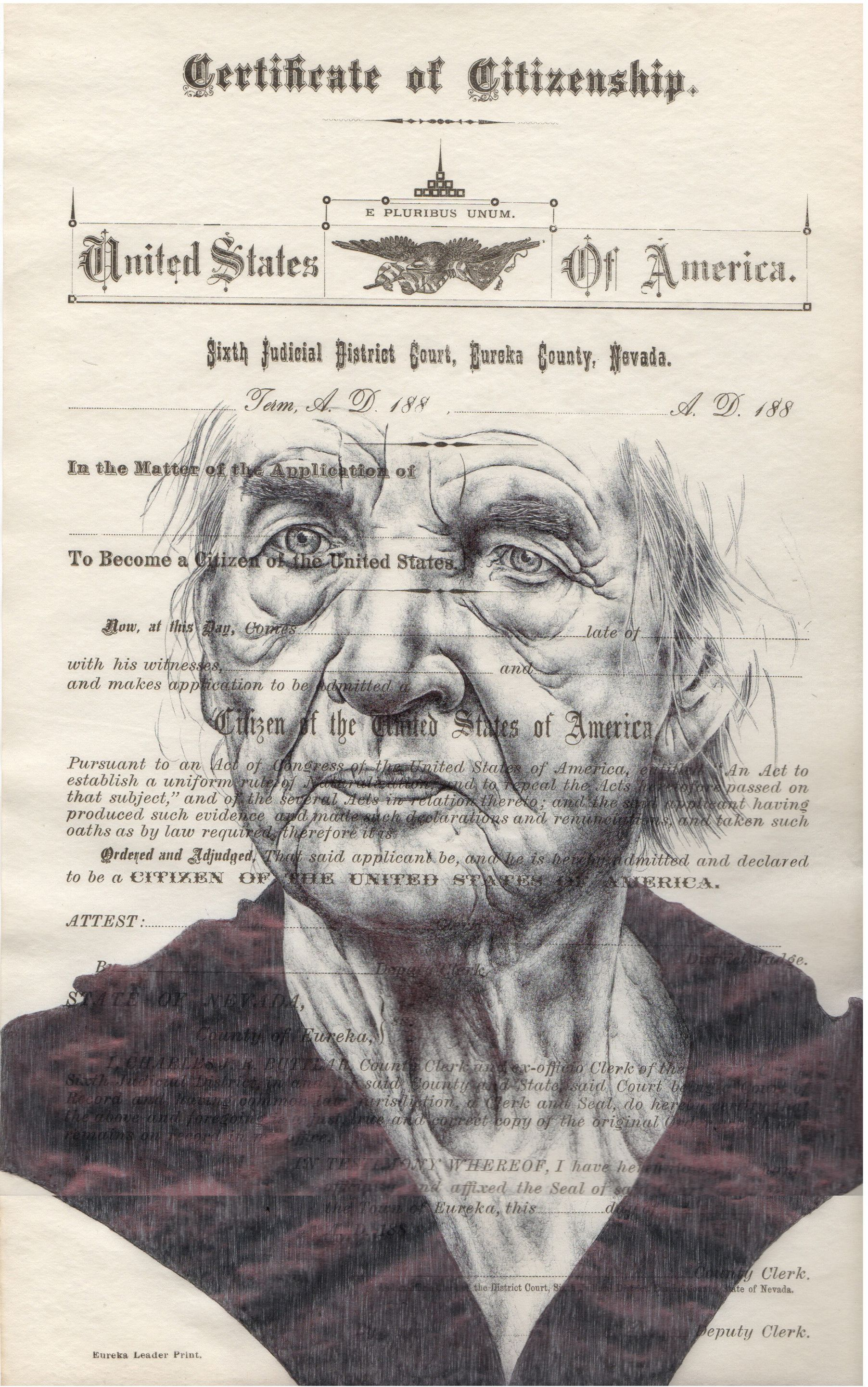 Bic Biro Drawing On S American Citizenship Form By Mark Powell