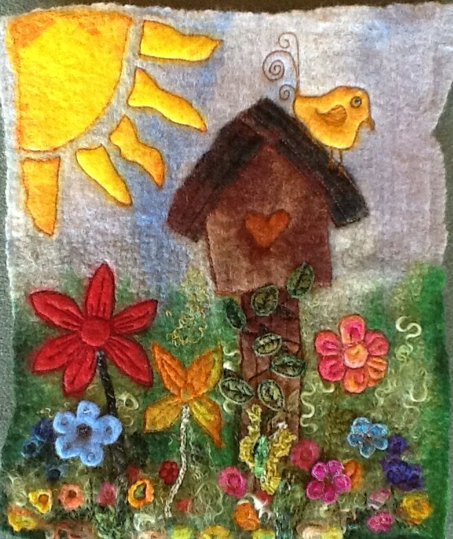 Birdhouse with Bird! Wet felted finished with machine embroidery