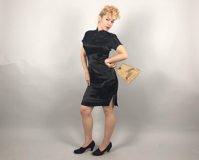 Jahrgang 1950 Kleid 50er Jahre schwarz flüssigen Viskose | Asian ...