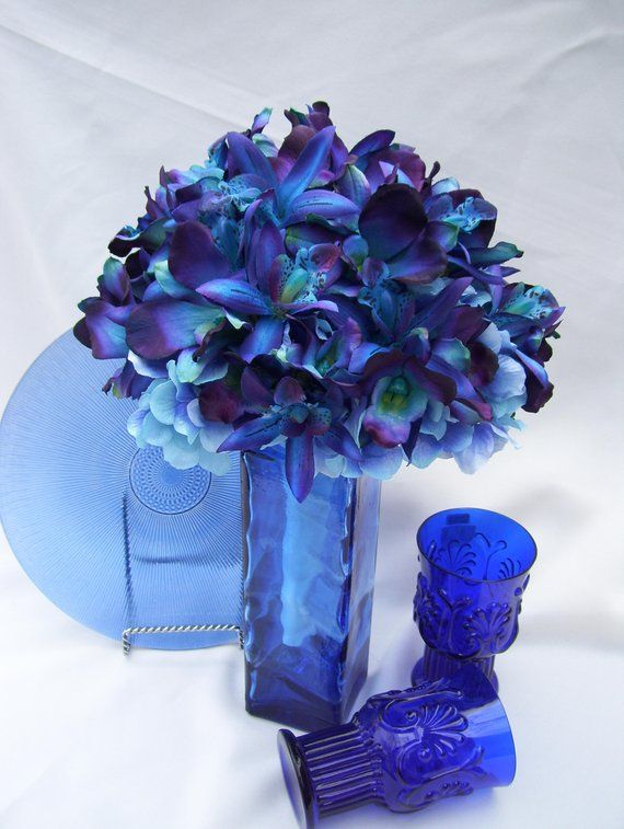 Christy's Bridal Bouquet with Purple Hydrangeas Blue ...
