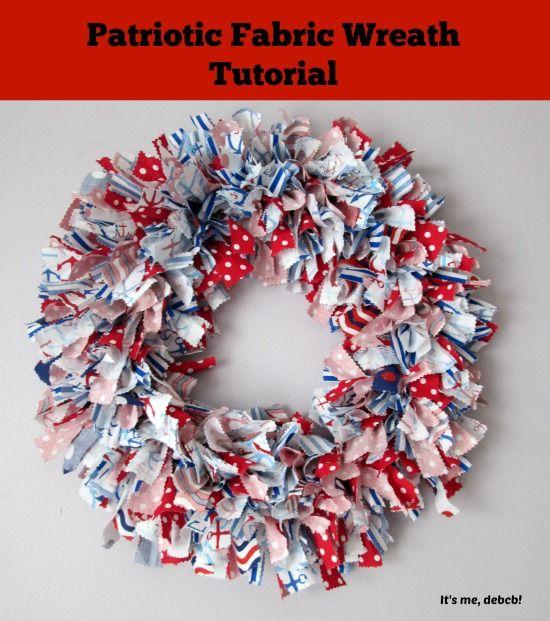 Blukatkraft Easy Diy Scrap Fabric Ribbon Wreath: Patriotic Fabric Wreath Tutorial