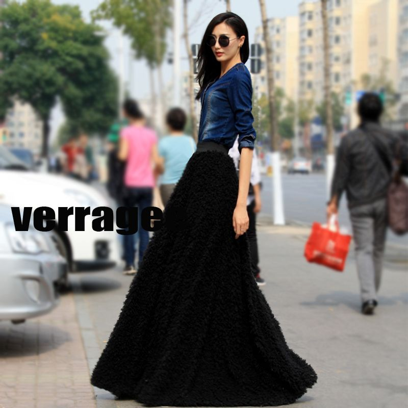 Rotita Vintage Black High Waist Flared Midi Skirt found on ...