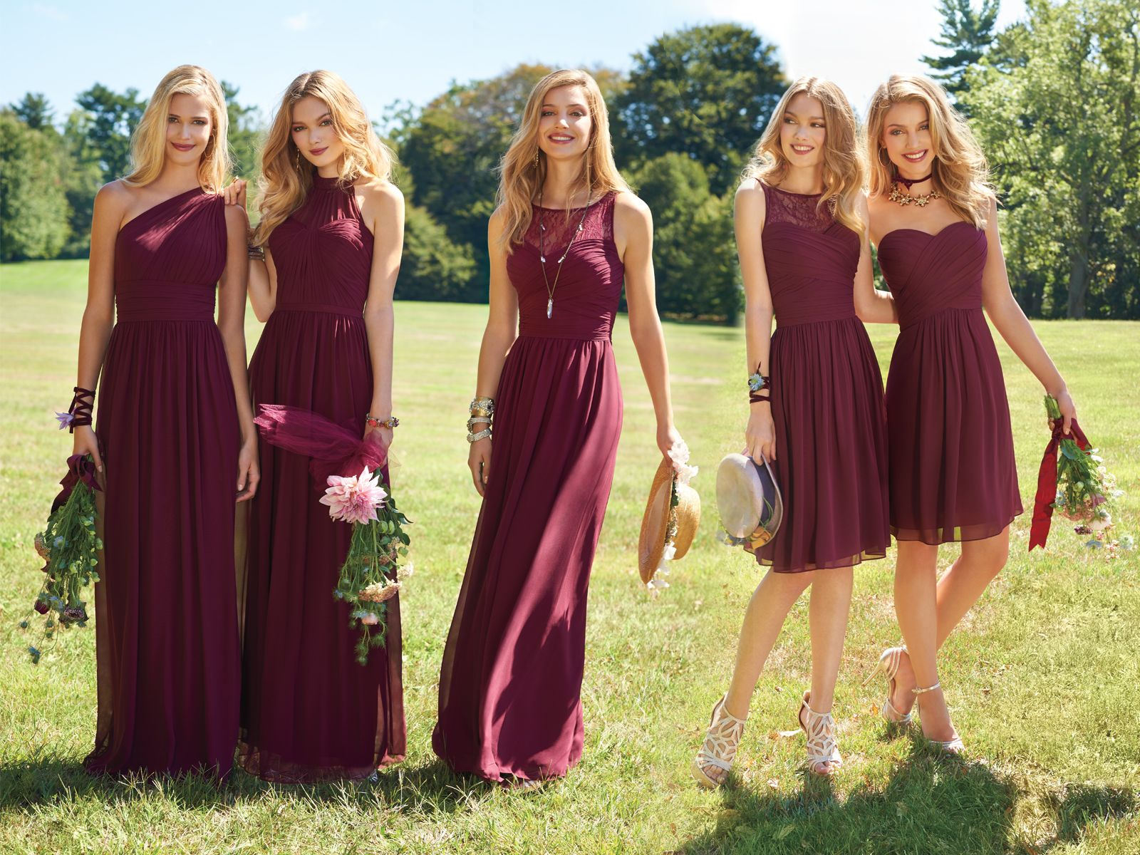 cf7f48f55bf 2018 New A Line Bridesmaid Dresses Burgundy Long Cheap Chiffon One Shoulder  Ruched Halter Floor Length Maid Of Honor Gown Summer Boho Gold Bridesmaids  ...