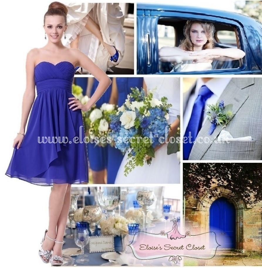 Isla sapphire cobalt blue chiffon prom evening bridesmaid dress