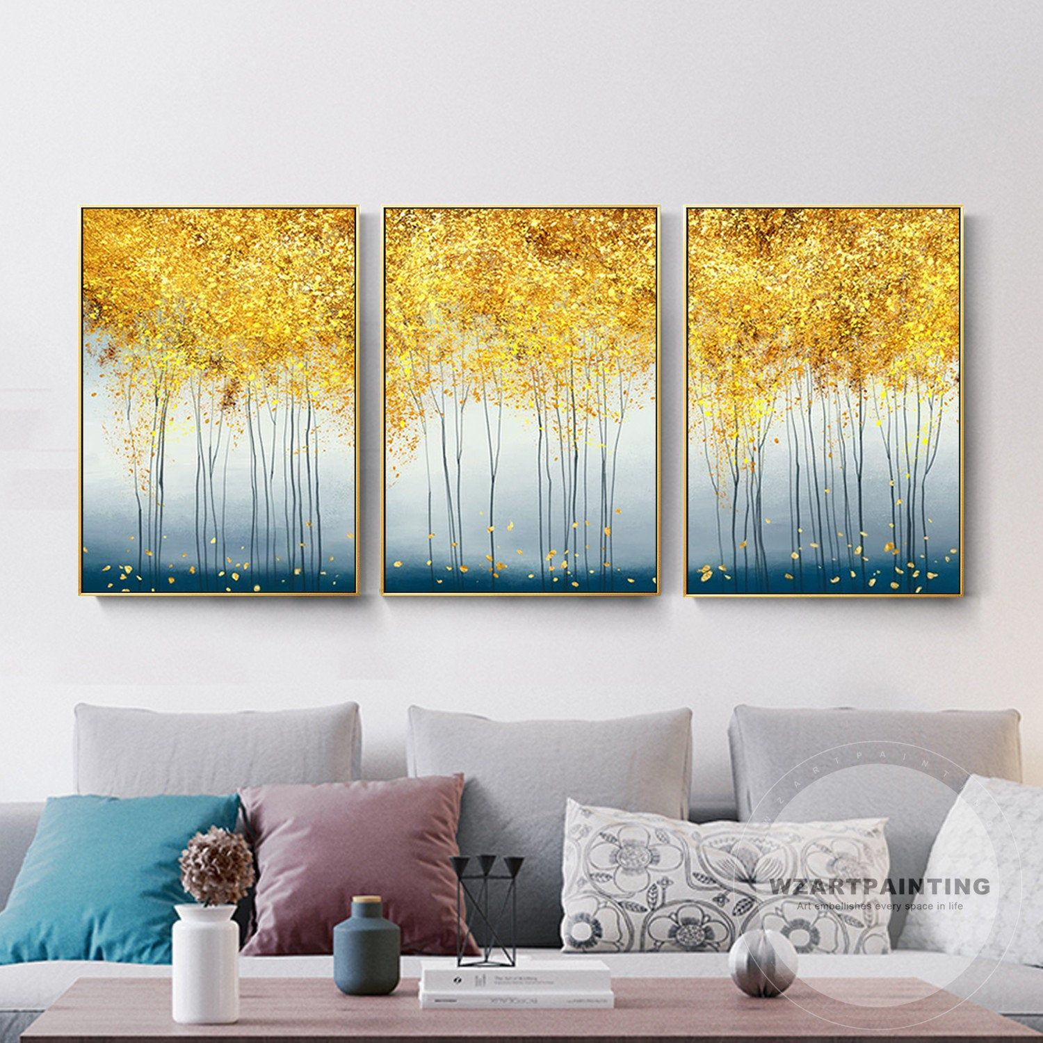 Framed Wall Art Set Of 3 Print Abstract Yellow Tree Landscape Blue