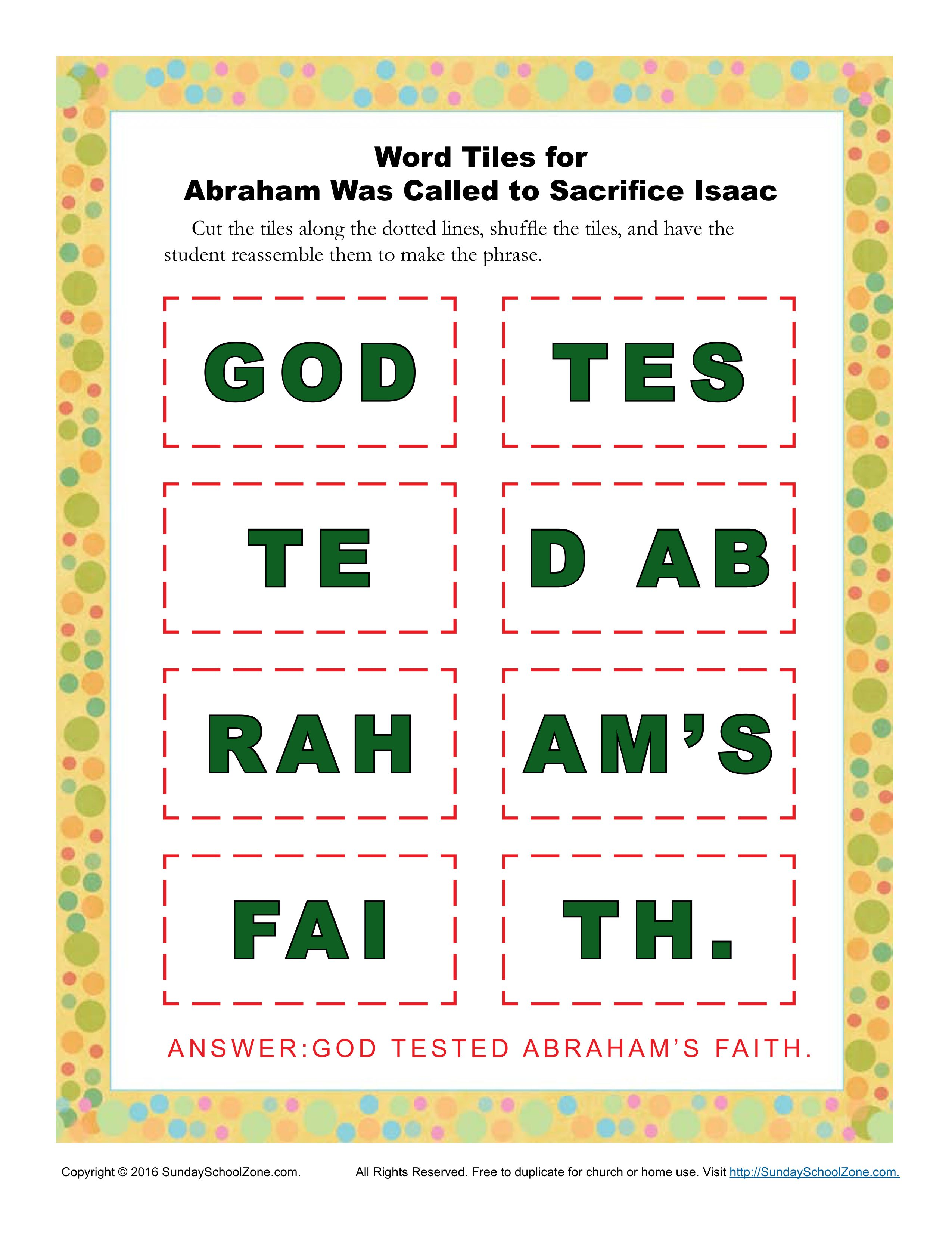 Abraham Was Called To Sacrifice Isaac Word Tiles Activity