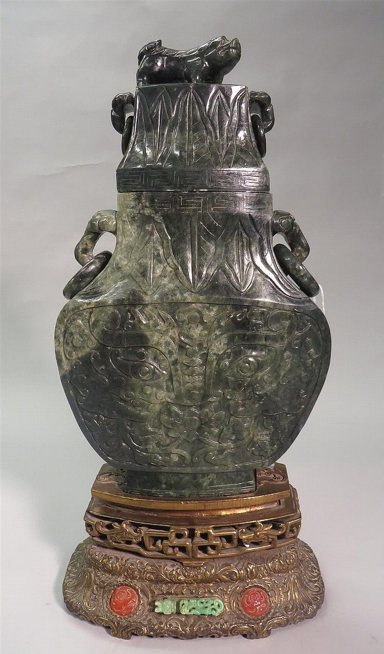 Large Decorative Urns With Lids Fair A Large Chinese Spinach Jade Vase Carved To Body With Taotie Masks Review