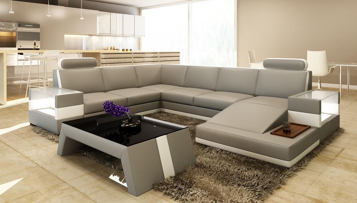 Divani Casa Pella Modern White Leather Sectional Sofa Sofas