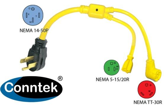 Conntek 14963 50a To 1 15a 1 30a Rv Y Adapter More Info Http Www Conntek Com Products Asp Id 205 Rv Outlet Rv Power