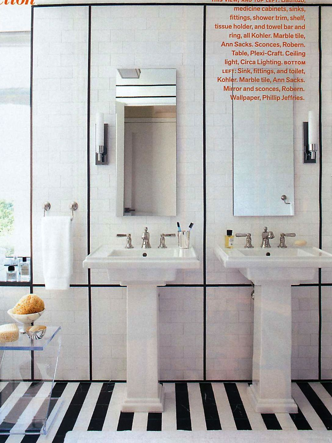 Modern, classic black and white bathroom. Designed by S. Russell ...