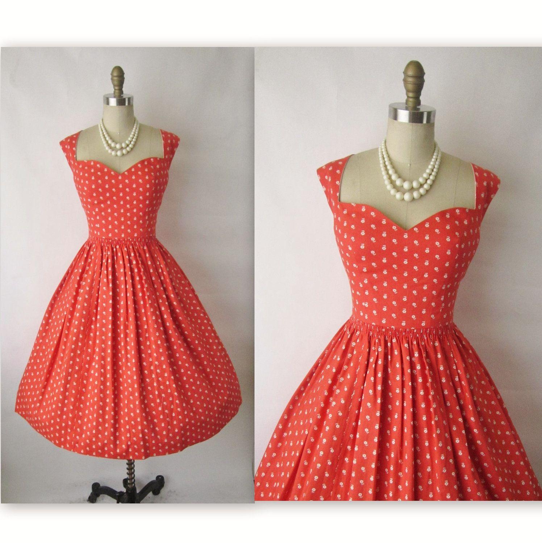 50\'s Garden Party Dress // Vintage 1950\'s Coral Floral Print Cotton ...