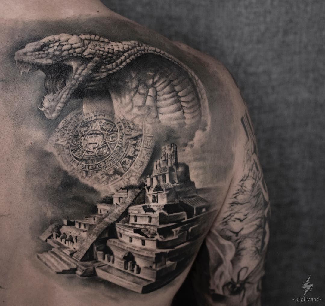 Lo Hai Salvato In Realistic Tattoo 1 Tattoo Snake And Maya Pyramid Info Luigimansi It Instagram Luigi Badass Sleeve Tattoos Egypt Tattoo Design Cobra Tattoo