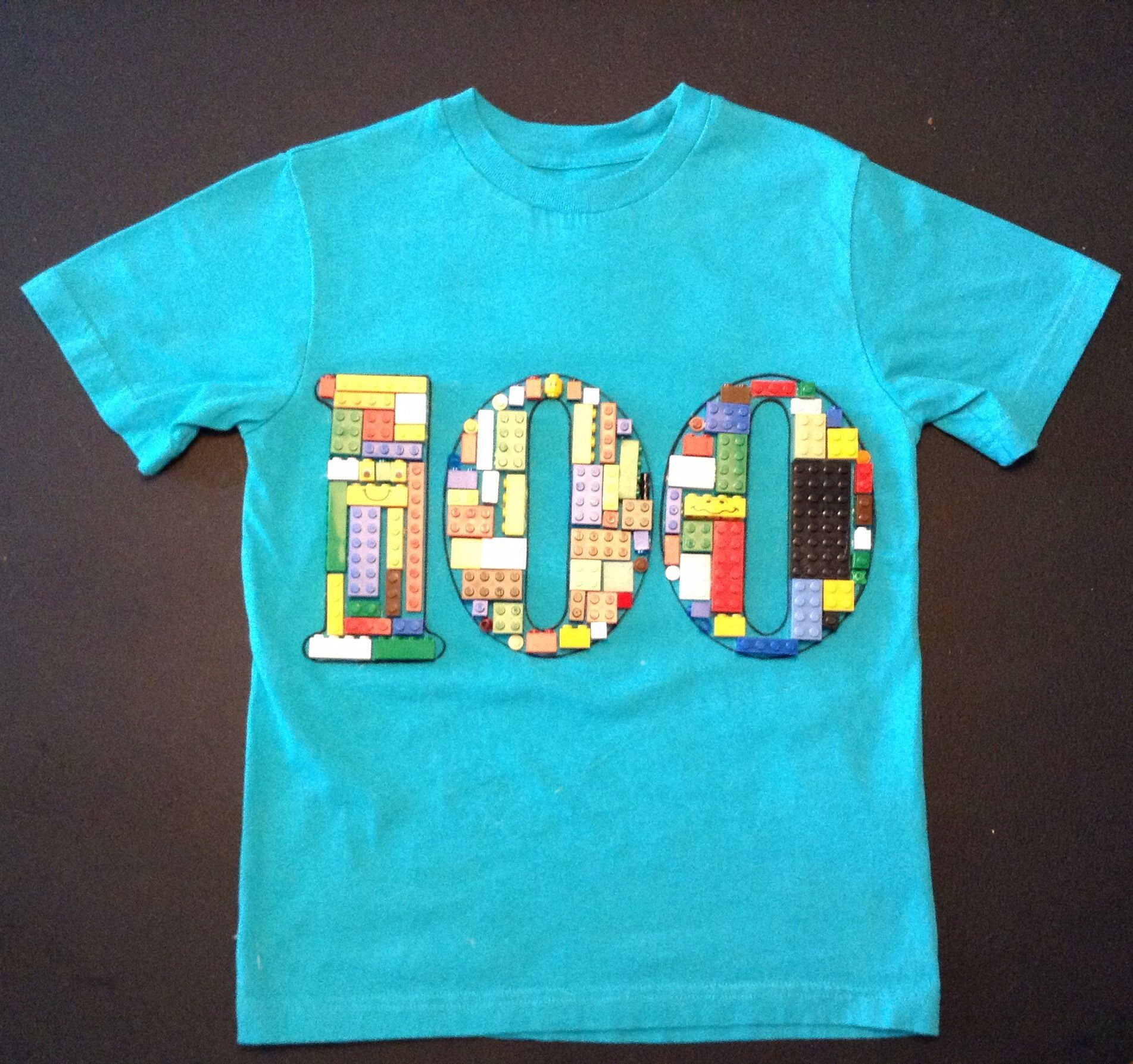 100th Day Of School T Shirt Made Of 100 Legos Glued To Shirt