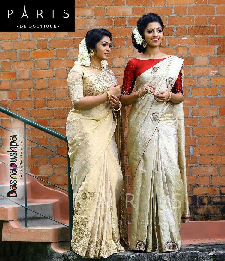 ff6c3b5e8dab1a Red blouse for off white saree | Blouses | Onam saree, Saree blouse ...